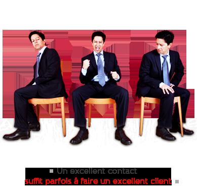 slogan WAVESOFT-Gestion de la relation tiers - visuel : 3 hommes (3 fois le même) chacun assis sur une chaises de bois clair. Ils sont côte à côte en demi cercle. Celui du milieu à une posture de gagnant, les deux autres paraissent dépités. Commentaire en baseligne : Un excellent contact suffit parfois à faire un excellent client